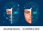 face recognition biometric...   Shutterstock .eps vector #1140061265