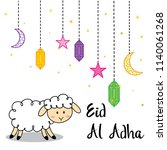 eid al adha with cute sheep and ... | Shutterstock .eps vector #1140061268
