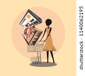 retro shopping woman with... | Shutterstock .eps vector #1140062195