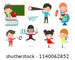 set of school kids in education ... | Shutterstock .eps vector #1140062852