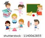 set of school kids in education ... | Shutterstock .eps vector #1140062855