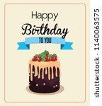 happy birthday cake | Shutterstock .eps vector #1140063575