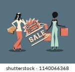 woman retro shopping | Shutterstock .eps vector #1140066368