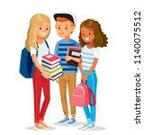 group of pupils standing... | Shutterstock .eps vector #1140075512
