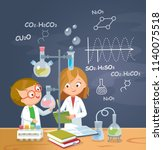 children is studying chemistry... | Shutterstock .eps vector #1140075518