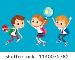 group of pupils jumping... | Shutterstock .eps vector #1140075782