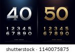 set of gold metal number.... | Shutterstock .eps vector #1140075875