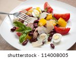tuna salad with beans  pepper ... | Shutterstock . vector #114008005