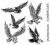 set of eagles illustrations.... | Shutterstock .eps vector #1140091145