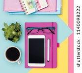 feminine office desk working...   Shutterstock . vector #1140098222