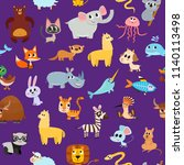 cute cartoon animals pattern... | Shutterstock .eps vector #1140113498