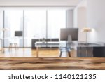 manager office interior with... | Shutterstock . vector #1140121235
