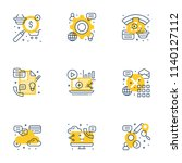 set of 9 flat line business... | Shutterstock .eps vector #1140127112