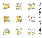 set of 9 flat line business... | Shutterstock .eps vector #1140127115