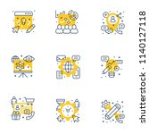 set of 9 flat line business... | Shutterstock .eps vector #1140127118