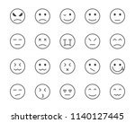 set of emoji vector line icon | Shutterstock .eps vector #1140127445