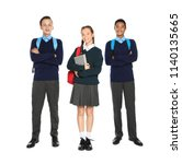 teenagers in stylish school... | Shutterstock . vector #1140135665