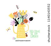 cute abstract bouquet in a... | Shutterstock .eps vector #1140143552