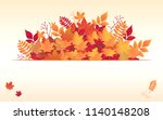 autumn maple leaves background. ... | Shutterstock .eps vector #1140148208
