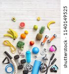 sports equipment and healthy... | Shutterstock . vector #1140149525