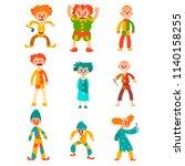 flat vector set of evil clowns. ... | Shutterstock .eps vector #1140158255