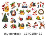 christmas big set  new year... | Shutterstock .eps vector #1140158432