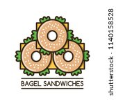 food logotype with three bagel... | Shutterstock .eps vector #1140158528