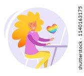 woman in the office. lesbian... | Shutterstock .eps vector #1140163175