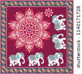 silk scarf with mandala flower  ... | Shutterstock .eps vector #1140171728