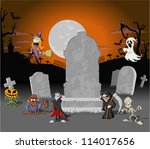 halloween cemetery background... | Shutterstock .eps vector #114017656