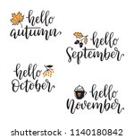 autumn calligraphy set with... | Shutterstock .eps vector #1140180842