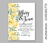 wedding invitation yellow... | Shutterstock .eps vector #1140181772