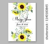 bright lemon yellow sunflower... | Shutterstock .eps vector #1140183845