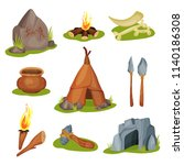 flat vector set of various... | Shutterstock .eps vector #1140186308