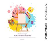 painting tools elements cartoon ... | Shutterstock .eps vector #1140188672