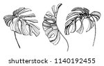 tropical leaves illustration.... | Shutterstock .eps vector #1140192455