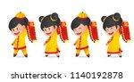 cute cartoon chinese new year... | Shutterstock .eps vector #1140192878