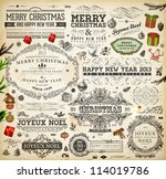 christmas decoration collection ... | Shutterstock .eps vector #114019786