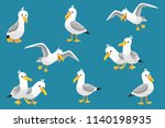 Vector Set Of Cute Seagulls...