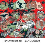 halloween colorful background ... | Shutterstock .eps vector #114020005