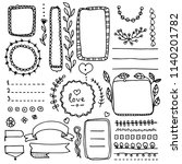 bullet journal floral elements. ... | Shutterstock .eps vector #1140201782