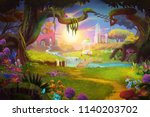 fantasy land  grass and hill ... | Shutterstock . vector #1140203702