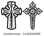 set of celtic crosses with...   Shutterstock .eps vector #1140206585