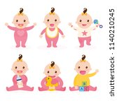 cute baby or toddler boy vector ... | Shutterstock .eps vector #1140210245