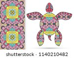 decorative doodle turtle with... | Shutterstock .eps vector #1140210482