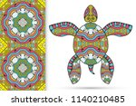 decorative doodle turtle with... | Shutterstock .eps vector #1140210485