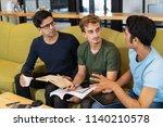 three serious fellow students... | Shutterstock . vector #1140210578