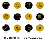 gold and dark zodiac symbols... | Shutterstock .eps vector #1140212912