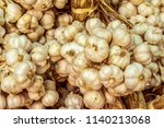 freshly picked garlic bulbs on...   Shutterstock . vector #1140213068