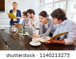 young people analizing as a... | Shutterstock . vector #1140213275